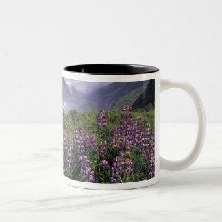 USA, Oregon, Nesika Beach. Lupine and Oregon Two-Tone Coffee Mug