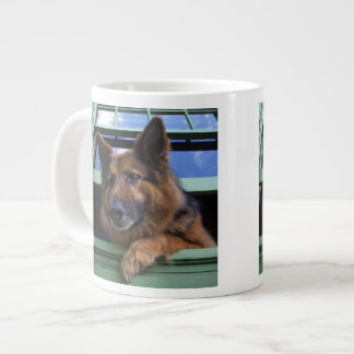 USA, Oregon, Portland. Griff the long-hair Large Coffee Mug