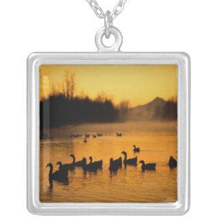 USA, Oregon, Portland. Waterfowl in Columbia Square Pendant Necklace