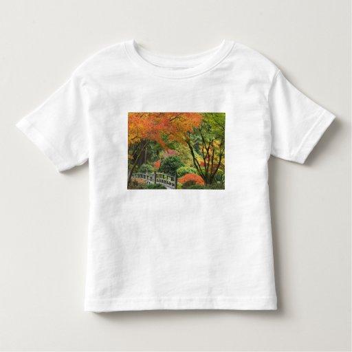 USA, Oregon, Portland. Wooden bridge and maple Toddler T-shirt