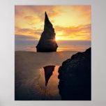 USA, Oregon. Rock Formation At Sunset Poster