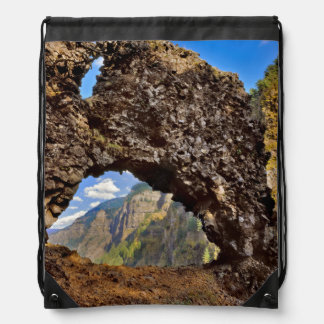 USA, Oregon. Rock Of Ages Arch In Columbia River Drawstring Bag