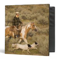 USA, Oregon, Seneca, Ponderosa Ranch. A cowboy 3 Ring Binder