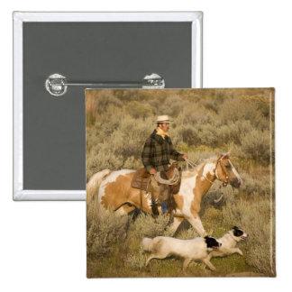 USA, Oregon, Seneca, Ponderosa Ranch. A cowboy 2 Inch Square Button