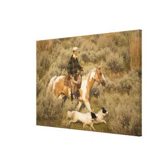 USA, Oregon, Seneca, Ponderosa Ranch. A cowboy Canvas Print