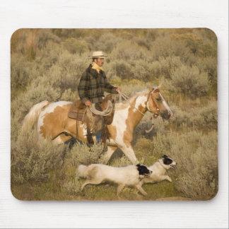 USA, Oregon, Seneca, Ponderosa Ranch. A cowboy Mouse Pad