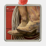 USA, Oregon, Seneca, Ponderosa Ranch. Close-up Square Metal Christmas Ornament