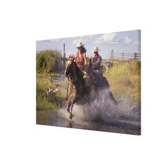 USA, Oregon, Seneca, Ponderosa Ranch. Cowboy Canvas Print