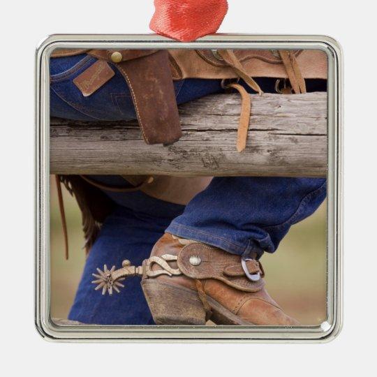 USA, Oregon, Seneca, Ponderosa Ranch. Cowboy Metal Ornament