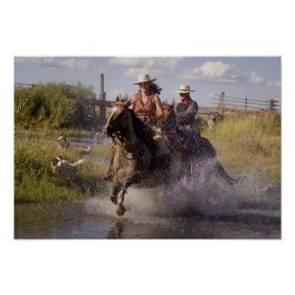 USA, Oregon, Seneca, Ponderosa Ranch. Cowboy Poster