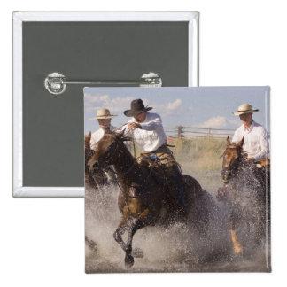 USA, Oregon, Seneca, Ponderosa Ranch. Cowboys 2 Inch Square Button