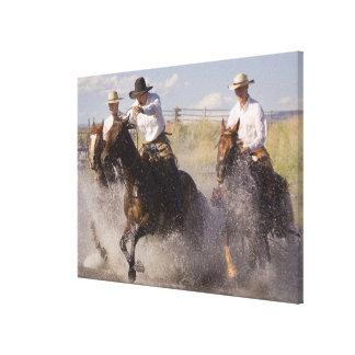 USA, Oregon, Seneca, Ponderosa Ranch. Cowboys Canvas Print