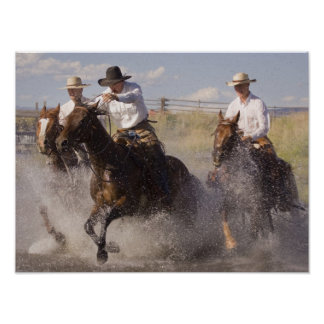 USA, Oregon, Seneca, Ponderosa Ranch. Cowboys Poster