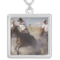 USA, Oregon, Seneca, Ponderosa Ranch. Cowboys Silver Plated Necklace