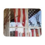 USA, Oregon, Shaniko. Flag in window next to Rectangular Photo Magnet