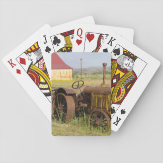USA, Oregon, Shaniko. Rusty vintage tractor in Playing Cards
