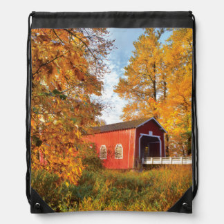 USA, Oregon. Shimanek Covered Bridge In Morning Drawstring Bag