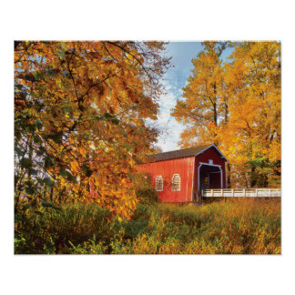 USA, Oregon. Shimanek Covered Bridge In Morning Poster