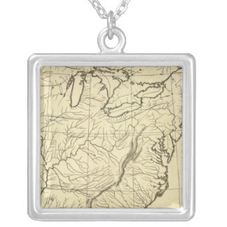 USA outline Square Pendant Necklace