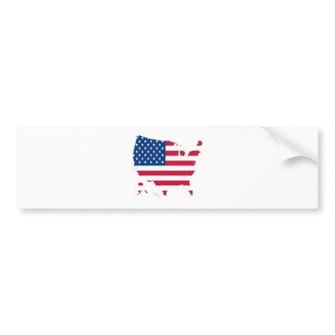 USA Outline with flag Bumper Sticker