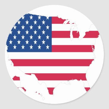 USA Outline with flag Classic Round Sticker