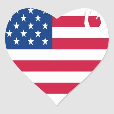 USA Outline with flag Heart Sticker