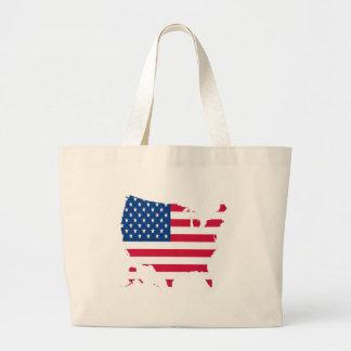 USA Outline with flag Large Tote Bag