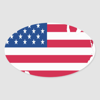 USA Outline with flag Oval Sticker