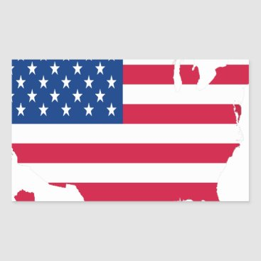 USA Outline with flag Rectangular Sticker