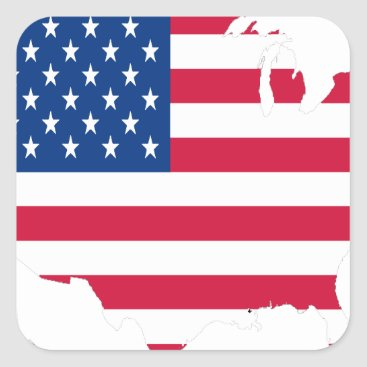 USA Outline with flag Square Sticker