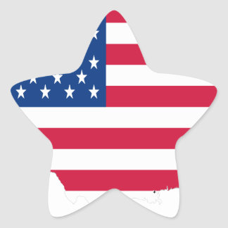 USA Outline with flag Star Sticker