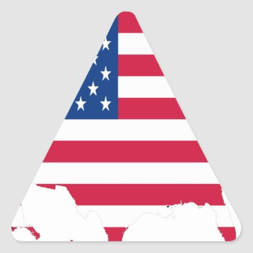 USA Outline with flag Triangle Sticker