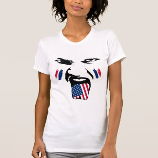 USA  Painted Fan Female Face T-Shirt