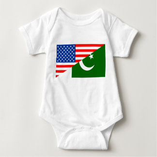 usa Pakistan country half flag america symbol Baby Bodysuit