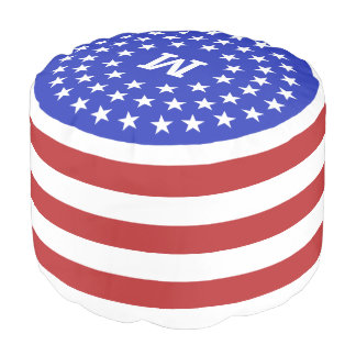 USA Patriot Custom Monogram pouf