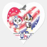 USA Patriot Owl Heart Sticker