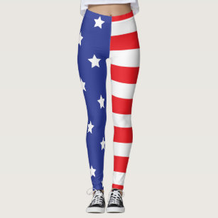 USA Patriotic American Flag Leggings