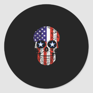 USA Patriotic American Flag Sugar Skull Classic Round Sticker