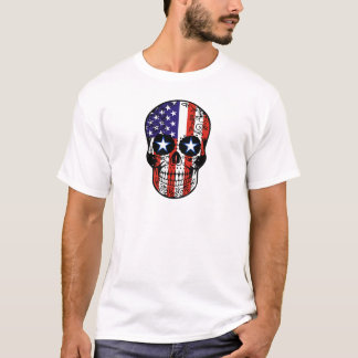 USA Patriotic American Flag Sugar Skull T-Shirt