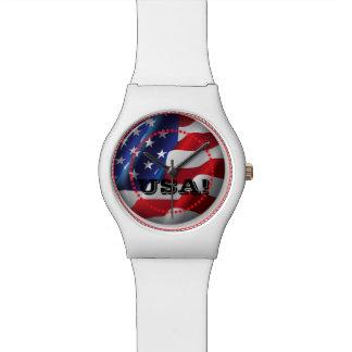 USA Patriotic American Flag White Adjustable Watch
