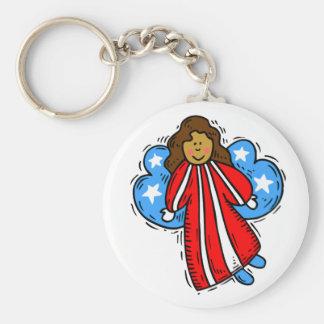 USA-Patriotic Angel Basic Round Button Keychain