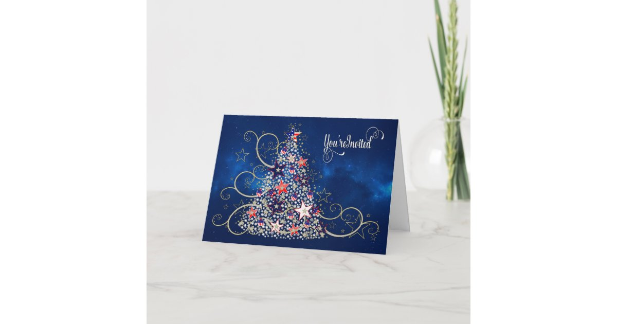 USA Patriotic Christmas,INVITATION, USA Tree Card | Zazzle.com