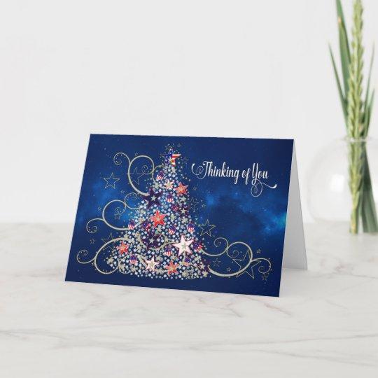 Patriotic Christmas.Usa Patriotic Christmas Thinking Of You Usa Tree Card