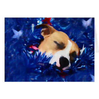 USA Patriotic Dog American Pit Bull Terrier Card