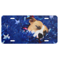USA Patriotic Dog American Pit Bull Terrier License Plate