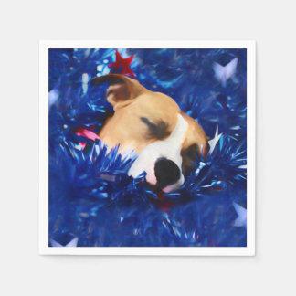 USA Patriotic Dog American Pit Bull Terrier Paper Napkin