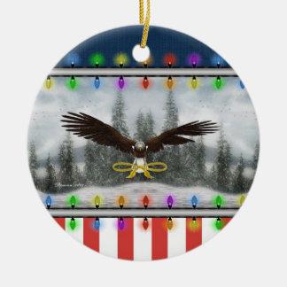 USA Patriotic Eagle Round Christmas Ornament