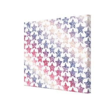 USA Themed USA Patriotic Faux Glitter Stars Canvas Print