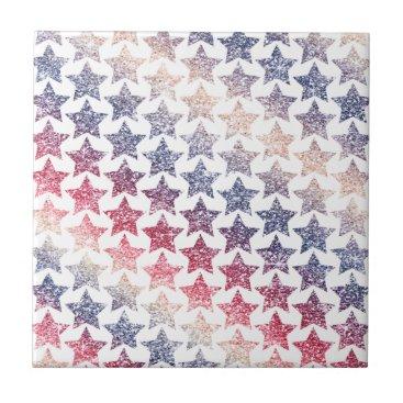 USA Themed USA Patriotic Faux Glitter Stars Ceramic Tile