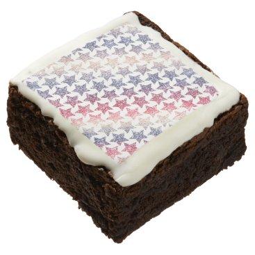 USA Themed USA Patriotic Faux Glitter Stars Chocolate Brownie